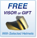 Free visor or gift with selected helmets